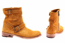 Women's Shoes Ankle Boots LA MARTINA L4130119 Suede Saffron Made In Italy New