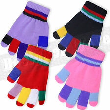 Kids Childrens Magic Gloves Striped Stretchy Knitted Multi Colour Girls Boys