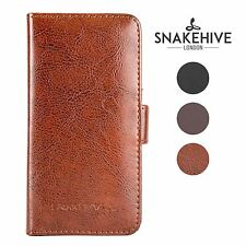 SNAKEHIVE® Genuine Real Leather Wallet Flip Case Cover for Samsung Galaxy Ace 3