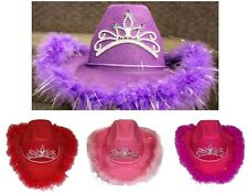 Wholesale Lot 6Pcs Cowgirl Hat With Feathers & Tiara - Size: Youth (# ECOWBG64K)
