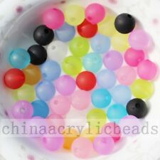 Assorted Clear Matte Frosted Acrylic Round Beads Jewelry Spacer Charm Bead 6-20M