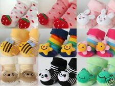 Colour Cartoon Animal Baby Socks Shoes with Anti-Slip New Born to 6 months
