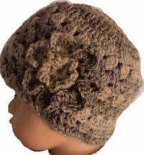 NEW BABY VINTAGE CROCHET BEANIE HAT childs knit winter flower bonnet anna 17