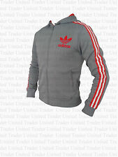 ADIDAS HOODED FLOCK UK SIZE SMALL GREY - HOODIE - JACKET - TRACK TOP