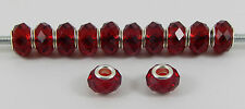 SET OF 10 OR 20  RUBY RED FACETED GLASS BEADS EUROPEAN CHARM BRACELET