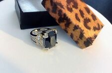 Black Ice Cube Ring-18K Gold EP-Hearts-Two Tone-CZ-Chunky-Big-Statement-Dramatic