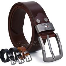 Mens Black/Brown/Ocher/ Coffee Genuine Leather Single Prong Belt w Metal Buckle