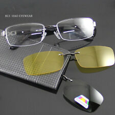 2PC Polarized Magnetic CLIP-ON sunglasses Driving+High Quality Monel Frame  6011