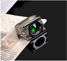 Platinum Plated Green Lantern Ring with Austrian Crystal/Size 7~12 in a gift box