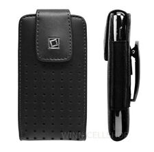 Premium Vertical Leather Holster Case Pouch W/ Fixed Swivel Clip for Cell Phones