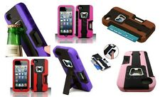 FOR IPHONE 5 5S RUBBER PLASTIC BOTTLE OPENER CARD HOLDER STAND COVER CASE +FILMS