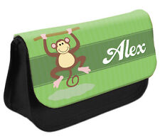 PERSONALISED Monkey Pencil Case Make up Bag - Kids School Great Gift Idea DS