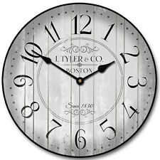 """Large wall Harbor Gray Clock,12""""- 48"""" Whisper Quiet, Non-Ticking"""