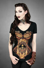 V neck steampunk corset black gothic t-shirt  punk steampunk cosplay brown corse