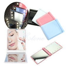Lady Makeup Pocket Mirror 8 LED Lights Cosmetic Folding Portable Compact Lamps
