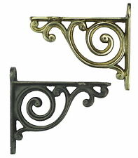 Pair Small Scroll Shelf Brackets - Antique Style Bathroom Bedroom Wall Bookcase