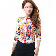 New Womens Casual Stand-up Collar Flowers Long Sleeve Chiffon Shirt Blouse Top