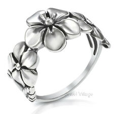 925 Sterling Silver Beautiful Triple PLUMERIA Flowers Ring Size 5 6 7 8 9 10 11