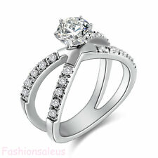 Fashion Stainless Steel 1.25Ct CZ Infinity Ring Women's Engagement Wedding Band