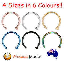 316L Surgical Steel, Gold & Black PVD 18G Nose Stud Ring Hoop Body Jewellery