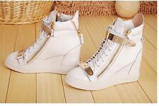 Hot Women's Fashion High Top Sneakers Velcro Leather Increased Wedge Ankle Boots
