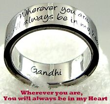 Gandhi Quote Ring Always in my Heart Love No Goodbye Stainless Steel SZ 6-10