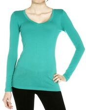 Plus Size T-shirts long sleeve V-neck light-weight cotton spandex stretch