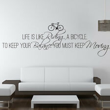 Life Is Like Riding A Bicycle Wall Stickers Quote Wall Decal Art