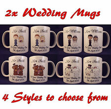 Personalised Mr and Mrs Wedding Mugs- Anniversary - Cup - Gift