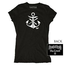 Women's Steadfast Brand Anchor Tee by Jime Litwalk Black Nautical Art Tattoo Ink