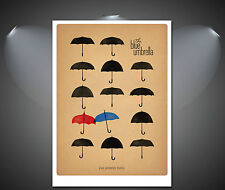 The Blue Umbrella Art Deco Poster - A1, A2, A3, A4 sizes