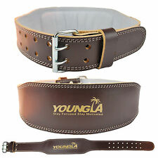 "Weight Lifting 4"" Pure Leather Belt Back Support Strap Gym Power Training"