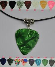 Medium 0.71mm Tibetan Silver Pendant Leather Cord Guitar Pick Necklace
