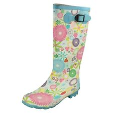 Ladies X1069 Multi-coloured flower pattern rubber wellington boot By Spot On
