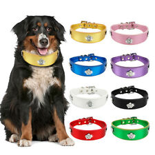 Rhinestones Metallic Plain PU Leather Pet Dog Collar with Bone&Crown Charm S M L