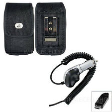 Heavy Duty Car Charger + Vertical Nylon Canvas Clip Case for HTC Cell Phones