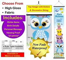 OWL STACK, Custom Personalised Baby Boy or Girl Height Growth Chart Wall Hanger