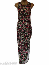 New G21 Maxi Dress Size 10-20 Black Floral Side Ruched Summer George