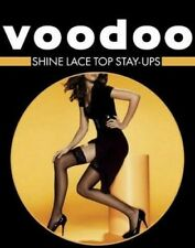 WOMENS VOODOO SHINE STAY UPS LACE TOP SHEER STOCKINGS NUDE BLACK AVE X TALL