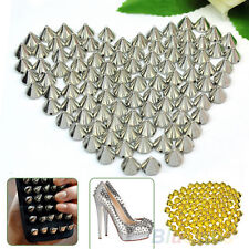 100 Pcs Silver Metal Rivet Spike Beads Leathercraft Diy Clothes Accessories BHCU