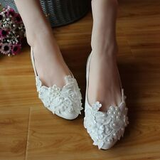 Free Shipping Women Wedding Shoes Lace Flower Beads Ballet Flats Sandals Loafers