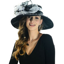 Women Formal Church Kentucky Derby Dress Hat Wide Brim Hat Organza S02-BV
