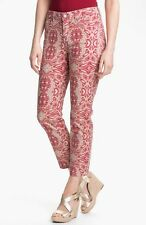 NEW NYDJ Not Your Daughters Jeans Alisha fitted ANKLE pants Tribal Tiki red 14P