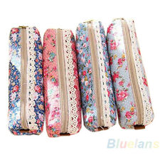 Useful Flower Floral Lace Pencil Pen Case Cosmetic Makeup Bag Zipper Pouch BL8U