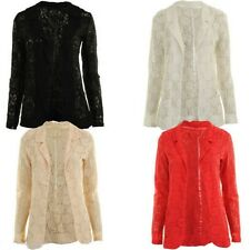 Jebo New Womens Open Front Full Sleeve Floral Laced/net Ladies Blazer Jacket