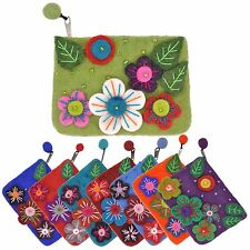 Nepal Handcraft Wool Felt 3D Colorful Floral Women Handbag Zip Coin Purse Wallet