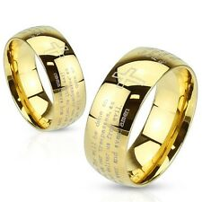 Gold IP Etched Lords Prayer Stainless Steel Wedding Band Couple Mens Ring