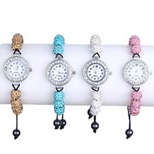 4 Colors Women's Crystal Disco Ball Bling Bracelet Diamante Watch Gift Style New
