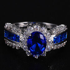 Sz 7-11 Deluxe Jewelry Ladys 10KT White Gold Filled Blue Tanzanite Wedding Ring