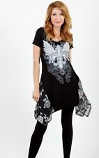 VOCAL FLEUR DE LIS WINGS CRYSTAL STUDS TUNIC TOP OR DRESS S-M-L NEW